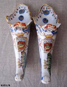 """2 Belles Bouquetières Anciennes En Faïence Fine De Rouen """"le Hâvre"""" Ejuiaxeg-08005026-167156967"""