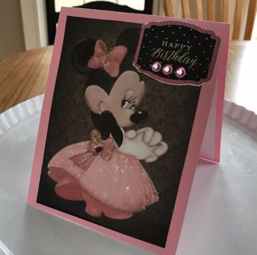Birthday Card Minnie In Pink Sparkly Fluffy Dress Rhinestones Looking Shy Sweet