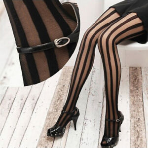 Fashion-Women-Black-Vertical-Stripes-Pattern-Stockings-Tights-Pantyhose-Salable