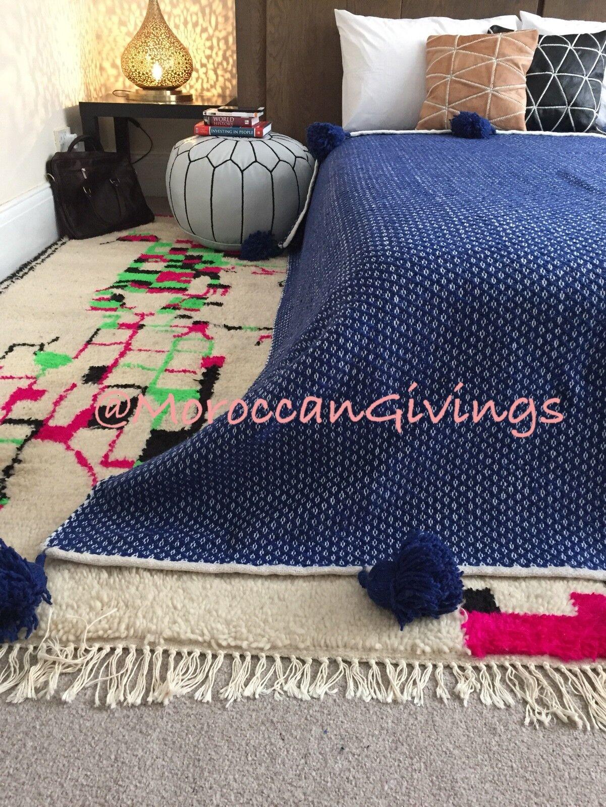 Marroquí tejidos a mano Pom Pom Manta 100% algodón, diseño de puntas 79 Wx118 L 200Wx300L
