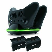 Xbox One Dual Charging Dock Controllers Charger + 2x Rechargeable Batteries