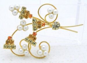 VTG-Gold-Tone-Faux-Pearl-Yellow-Orange-Rhinestone-Flower-Pin-Brooch