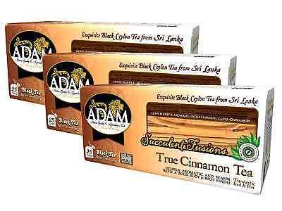 Adam Tea - Real Ceylon Cinnamon Black Ceylon Tea 3 Pack 75 Dual Chamber Tea Bags