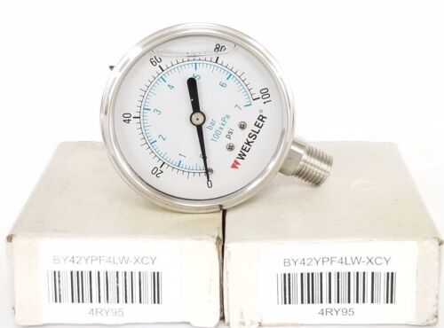 0-7BAR LOT OF 2 NIB WEKSLER BY42YPF4LW-XCY PRESSURE GAUGES 4RY95 0-100PSI