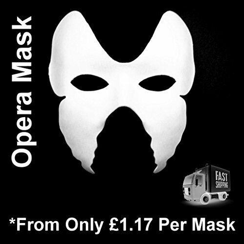 White Mask Plain Masks Masquerade Halloween Fancy Dress Adult Opera