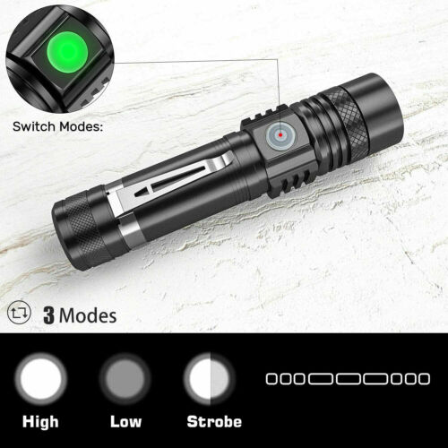 Super Bright 50000LM T6 LED Flashlight Rechargeable Zoomable Torch 18650 3 Modes