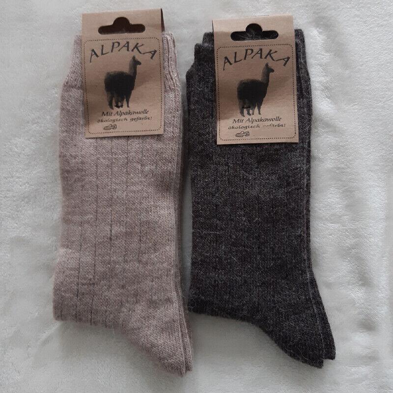 2 Paar Damen Soft Alpaka Socken 100% Wolle extra weich Hell / Dunkelbraun 35-42