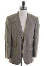 DAKS Mens 2 Button Blazer Jacket Size 38 Small Brown Check Wool