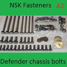 Land Rover 110 Chassis Rebuild Bolt Kit A2 Stainless Steel.