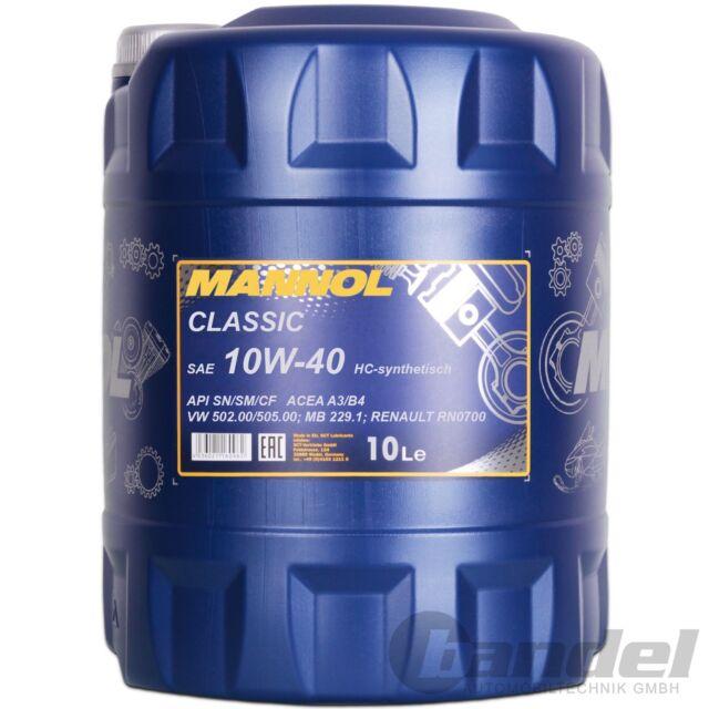 [2,60€/L] 10 LITER 10W-40 Mannol Classic Motoröl für VW, AUDI, Mercedes Renault