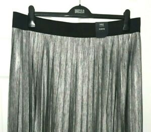 Ladies-Maxi-Skirt-M-amp-S-Grey-Metallic-Pleated-Pull-On-20-BNWT-Marks-Curve-Women