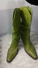 STEVE MADDEN WOMEN'S BOOTS SADDLE GREEN LEATHER SIZE 10
