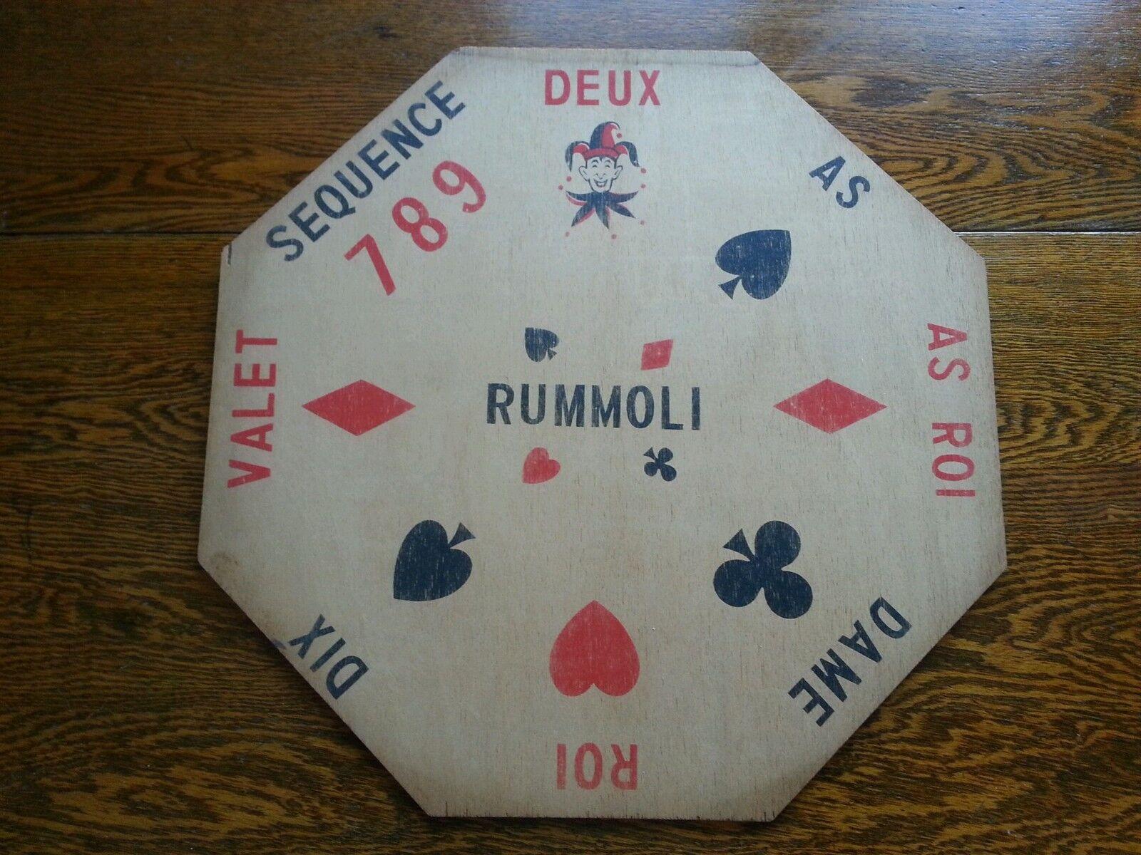 Vintage octogonale bois rummoli Game Board contreplaqué DECOR Hanging Wall Art Man Cave