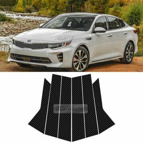 B C Pillar Post Carbon Fiber Decal Sticker Molding 6P For KIA 2016-18 Optima K5