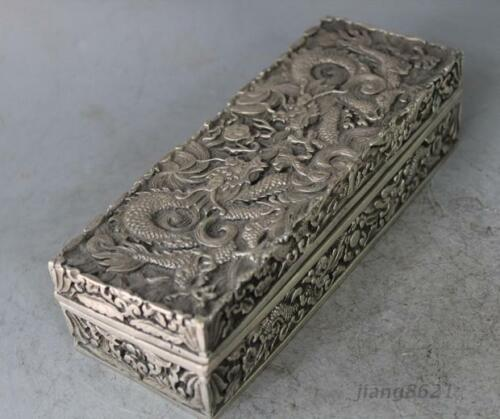 Chinese Silver Dragon Beast Box Boxes Pot Jar Statue
