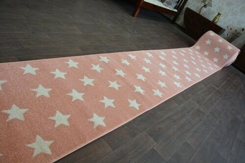 Modern Thick Hall Runner SKETCH STARS pink Width 80-120 cm extra long Stairs