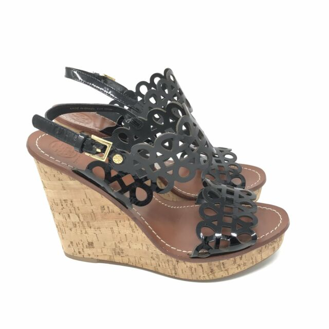 89d2260103b91e Frequently bought together. Tory Burch Size 10.5 Womens Nori Black Cork  Wedge Heel Sandal Perforated Leather