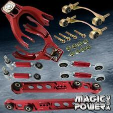 Civic 92-95 Front Rear Camber Kit + Lower Control Arm Toe Arm Bushing Kit Red