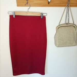 Forever 21 midi skirt maroon pencil S small cocktail party engagement datenight