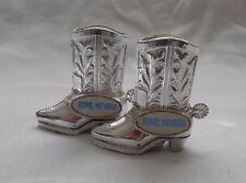 Vintage Souvenir Reno Nevada Salt & Pepper Shakers Figural Silver Western Boots