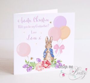 Will you be my godmother personalised peter rabbit card godparents image is loading will you be my godmother personalised peter rabbit m4hsunfo
