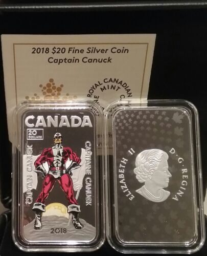 2018 Captain Canuck $20 1OZ Pure Silver Proof Coloured Coin Canada