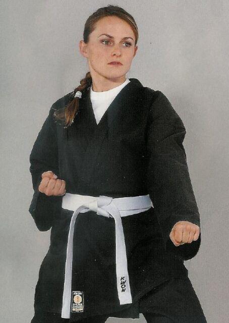 Kwon Karate Jacke black. 8Oz, 100% Baumwolle, 110 - 130cm. Budo Sport, Wing Tsun