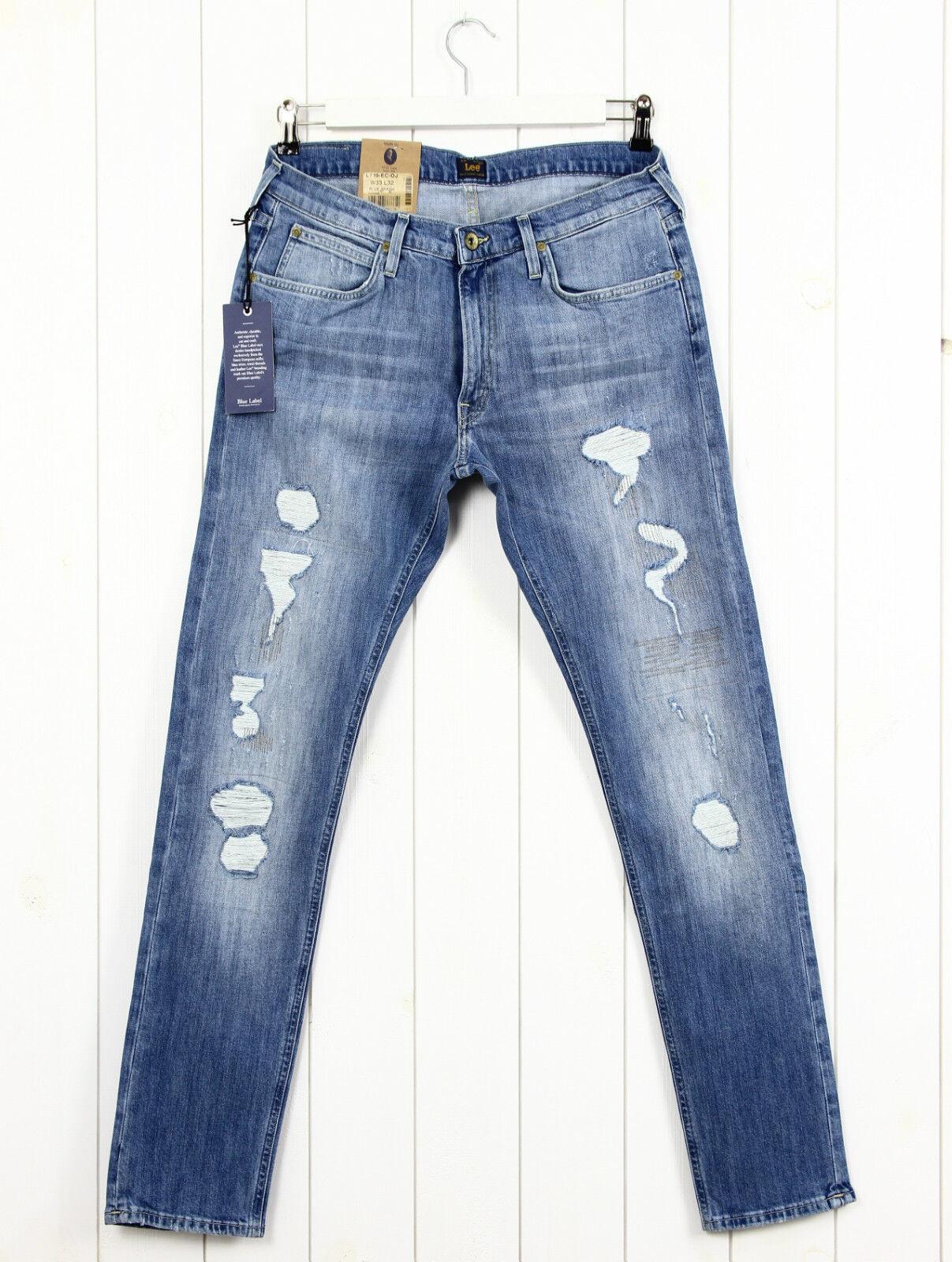NEU Lee Luke Jeans schmal kegelförmig blue Löcher Zerrissen L32 L34 101-