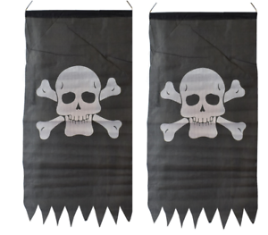 2-x-PIRATE-JOLLY-ROGER-SKULL-amp-CROSSBONES-FLAG-86-x-43cm-PARTY-PENNANT-BUNTING