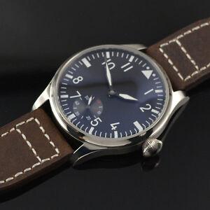 44mm-Parnis-Wristwatch-6498-Hand-Winding-Movement-Black-Dial-Men-039-s-Watch