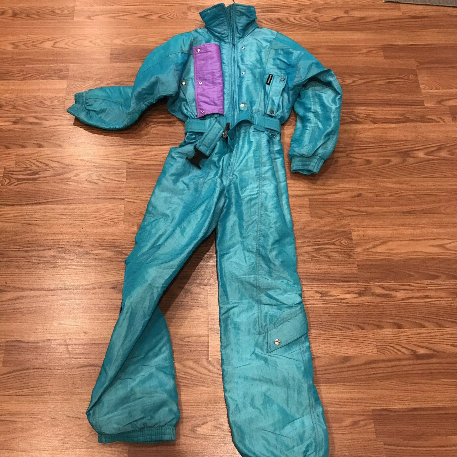 Vintage 80s ROBERT JOHN neon 1 piece ski suit waterproof insulated snow damen's