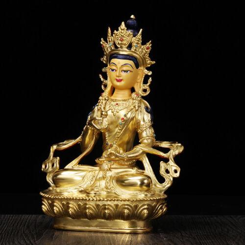 "8/"" Asian Antique Tibetan Buddhism copper gilt hand painting Vajrasattva statue"