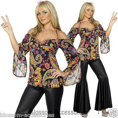 CL418 Hippie 1960s 1970s Retro Girl Disco Dancing Fancy Costume Groovy Plus Size