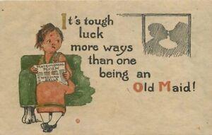 Artist-impression-Arts-Crafts-Old-Maid-Saying-Motto-C-1910-Postcard-10925