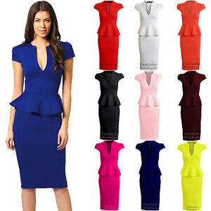 New-Ladies-Cap-Sleeve-V-Neck-Peplum-Skirt-Knee-Length-Womens-Dress
