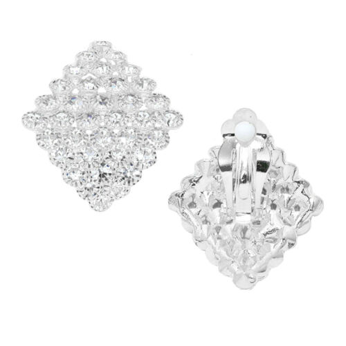 Glamour Clip Clips Silber Ohrringe Ohrclips Abgerundet Kristall Klar 3,2 cm Lang