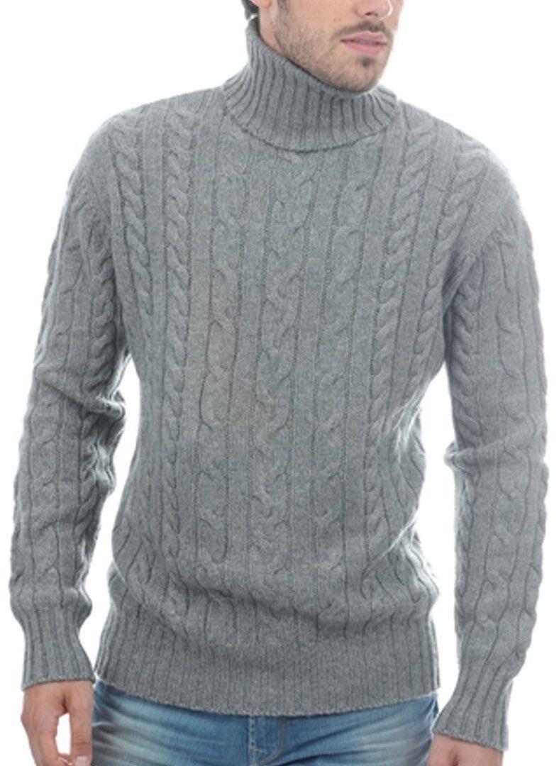 Balldiri 100% Collo Alto Trecce Pullover 10 fädig GRIGIO S