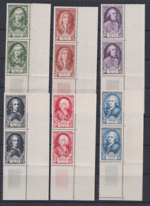 FRANCE-SERIE-1949-MNH-N-par-paires-BDF-VOLTAIRE-DUPLEIX-TURGOT-853-858-CTE-62