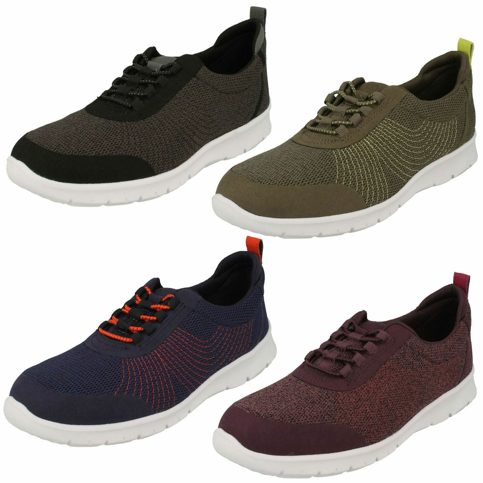 Ladies Clarks Elasticated Fastener Sports Trainers Step Bllena Bay