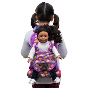 Child-039-s-Backpack-amp-Doll-Carrier-Sleeping-Bag-For-18-034-American-Girl-Clothes-Purple