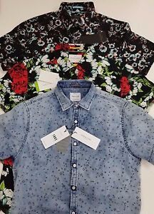 3a32cf5d31 Denim   Flower Ricky Singh Slim-Fit Button Front Short Sleeve Shirt ...