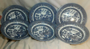 6-Coupe-Bowls-Churchill-Blue-Willow-20-cm-8-034-Vintage-Style-Soup-Bowls