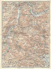 Carta geografica antica TRENTO ROVERETO VALLE ADIGE TCI 1920 Old antique map