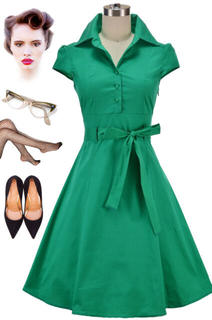 50s Style GREEN Cap Sleeve Collared SODA FOUNTAIN Lucy PINUP Shirt Dress w/Sash