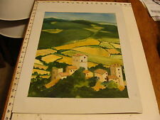 JAN STEELE, painting: French landscape on French board and Air France sticker