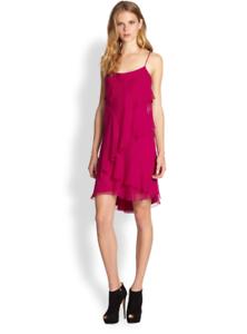Haute Hippie Magenta Tiered Sleeveless Silk Prom Dress    Size XS