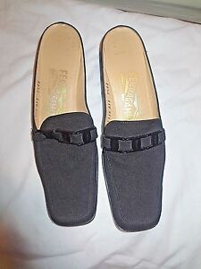 Salvatore-Ferragamo-Black-Low-Heels-Slide-Logo-Women-039-s-Mules-Shoes-Size-7-5-4A