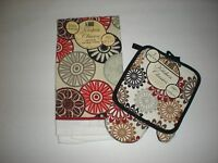 Flowers In Red Black Gray Set Of 3 - Kitchen Towel, Potholder, Oven Mitt,