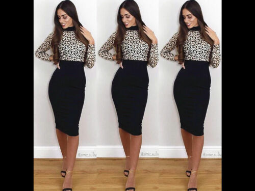 Women Long Sleeve Lace Dress Ladies Embroidery High Polo Turtle Neck Bodycon UK