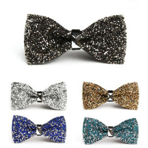 Men-039-s-Wear-Bow-Tie-Crystal-Glitter-Wedding-Smart-Ball-Party-Prom-Silver-LU7